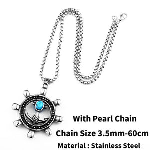 Wheel Anchor Charm Necklace with Blue Jewel