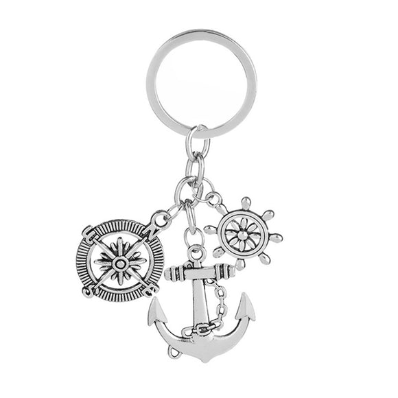 Keychain with Compass Key Ring and Rudder Anchor Decoration