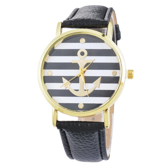 Fashion Unisex Striped Anchor Style Leather Watch