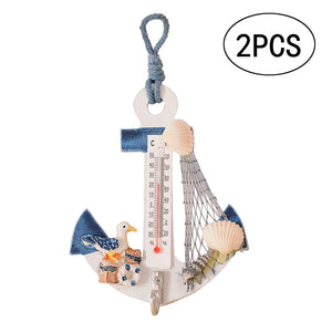Beach Style Hanging Wall Ornament with Anchor & Mini Thermometer
