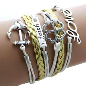 Love Flower Faith Anchor Bracelet