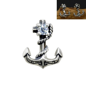 Unisex Stud Style Anchor Earrings 925 Sterling Silver Black Stone