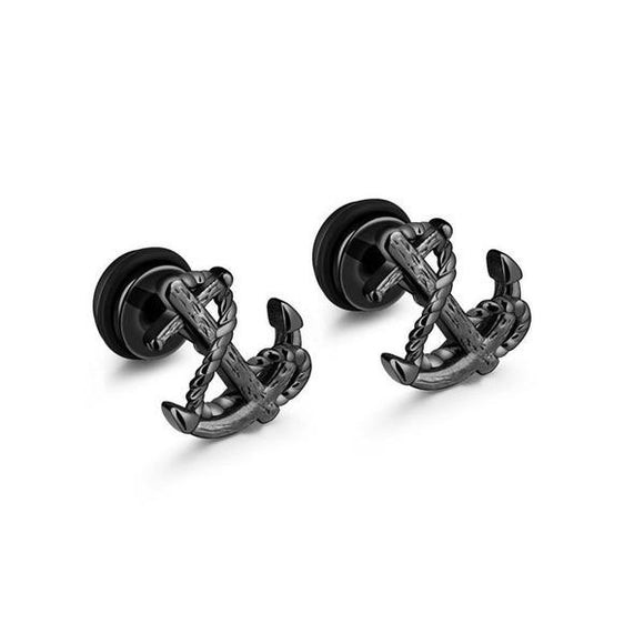 Vintage Unisex Anchor Design Studs Earrings for Man & Woman