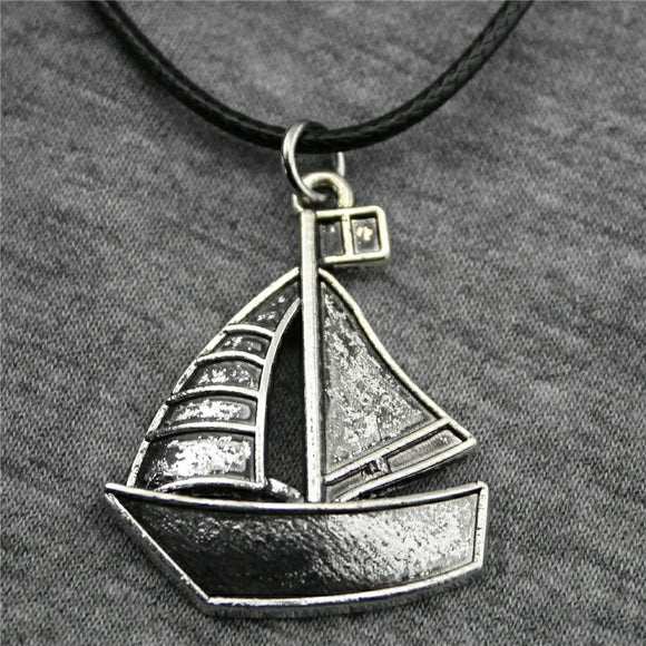 Leather Chain Necklace with Sailboat Pendant