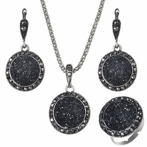 3 Piece Antique Silver Crystal Round Stone  Gem Jewelry Set