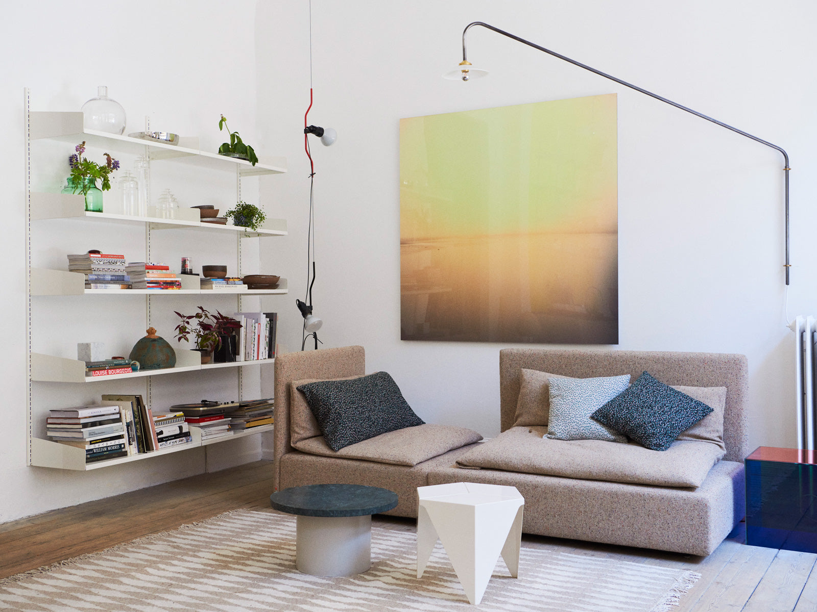 studio x viaduct interior Shiraz sofa e15 muller van severen hanging lamp vitra prismatic table castiglioni parantesi lamp