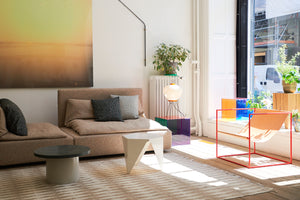studio x viaduct interior shiraz sofa e15 enoki table prismatic table vita solo chair muller van severen Valerie objects luce table capellini askari lamp