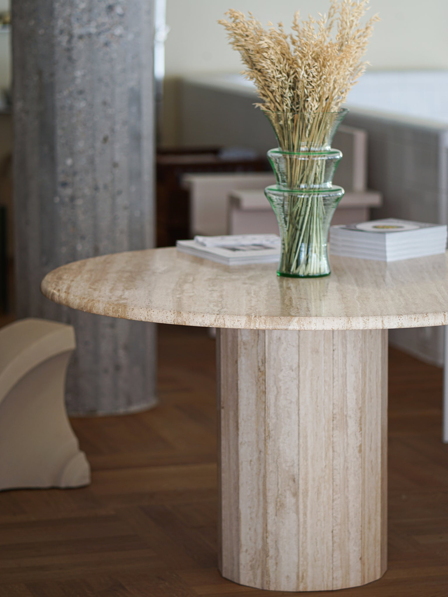 Travertine Column Table