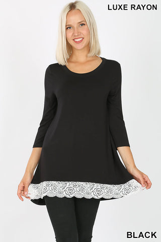 3/4 sleeve round neck lace bottom tee