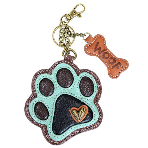 Chala Key Fob/Coin Purse Teal Paw Print