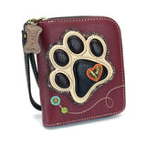 Chala Zip-Around Maroon Paw Print Wallet
