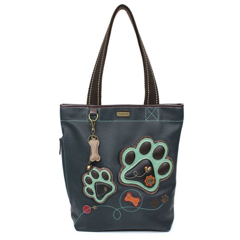 Chala Everyday Zip Tote- Teal Paw Print