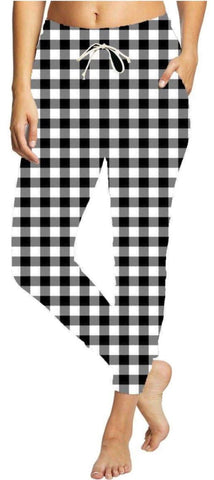 Black and White Plaid Unisex Joggers Adult
