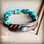 Copper Feather and Turquoise Bracelet