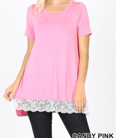 NEW Short Sleeve Lace Bottom Tops