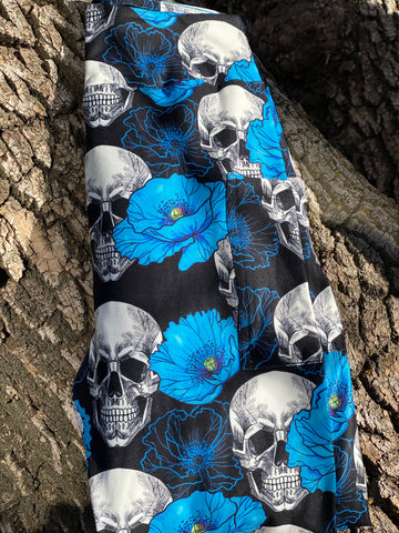 Blue Floral Skull Leggings with Pockets