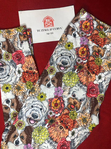 Floral Dog Faces Leggings