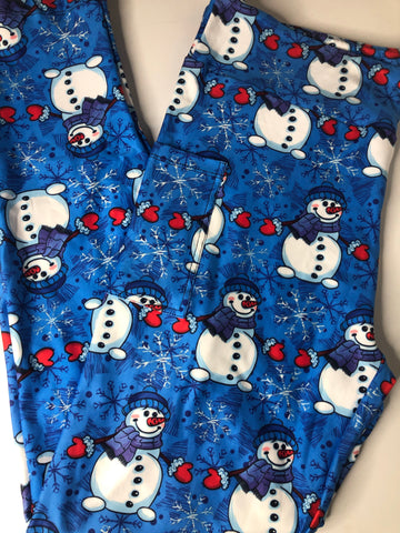 Blue Snowmen Legging with Pockets