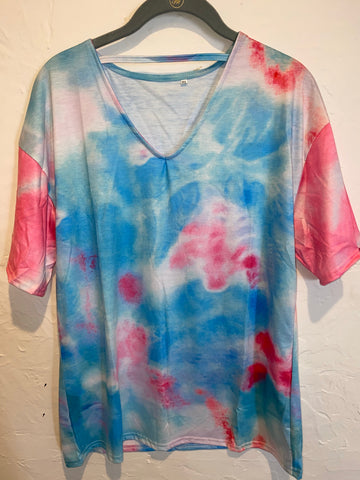 Cotton Candy Tie Dye V-neck strap tee