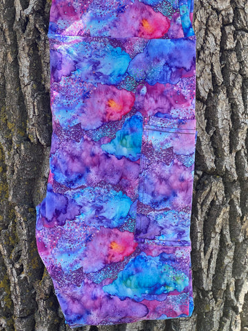 Glitter Watercolor Leggings WITH pockets