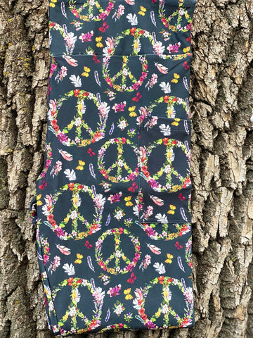 Floral Peace Sign Leggings with Pockets