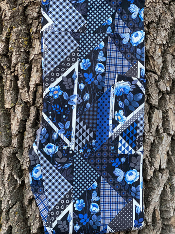 Blue Patchwork Leggings with Pockets