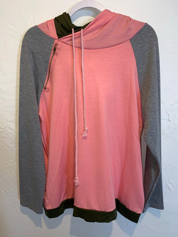 Tri color Pink Shoulder Zip Double Hoodie