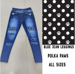 Blue Polka Dot Paws Peek-A-Boo Leggings