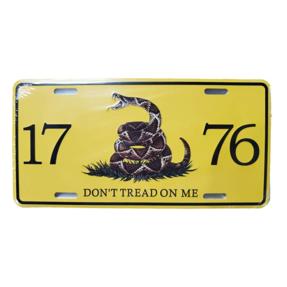 1776 Don't Tread on Me Live Snake Gadsden License Plate
