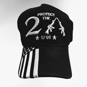 Premium Protect the 2A Custom Embroidered Hat with 1/4 Flag Bill (Black & White)
