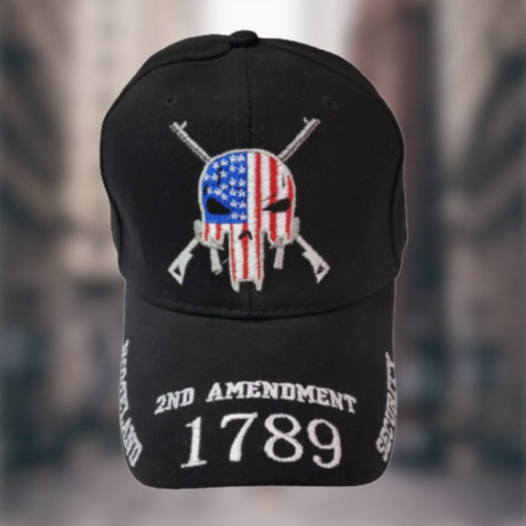 2nd Amendment 1789 Patriotic Skull 3D Embroidered Hat & Bill