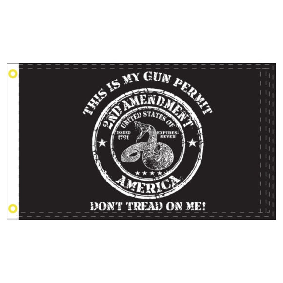 2nd Amendment Don't Tread on me This is my Gun Permit 100D ROUGH TEX ® 3'X5' FLAG