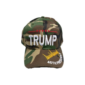 45th President Trump Camo Signature Hat - Flag and Cross