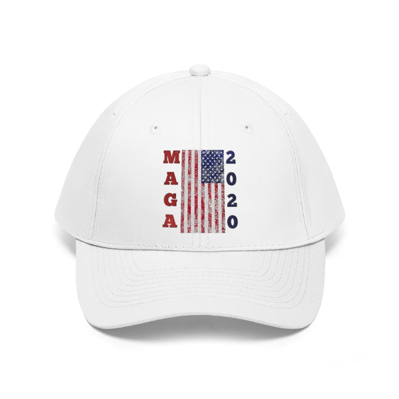 MAGA 2020 American Flag 100% Cotton Twill Hat (Embroidered)