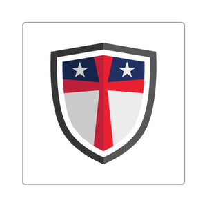 Flag and Cross Shield Square Sticker