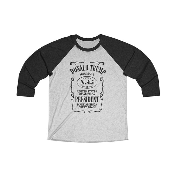 Donald Trump N.45 Unisex Tri-Blend 3/4 Raglan T-Shirt