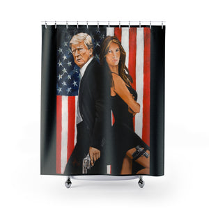 "Mr and Mrs Trump 71""x74"" Shower Curtain"