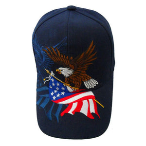 Navy Blue American Flag Flying Eagle Custom Embroidered Shadow Hat
