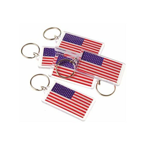 American Flag Keychain (Plastic w/ metal key ring)