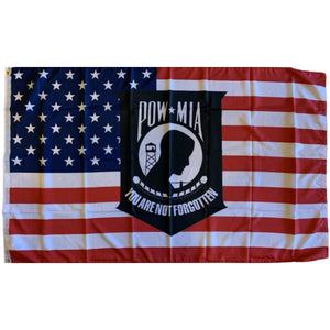 American Flag with POW MIA You Are Not Forgotten 100D Rough Tex® Flag