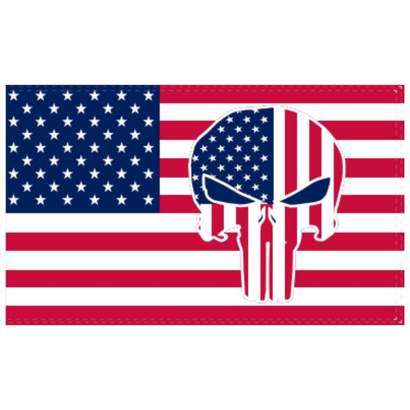 American Police Patriotic Skull 3'x5' 100D Rough Tex® Flag