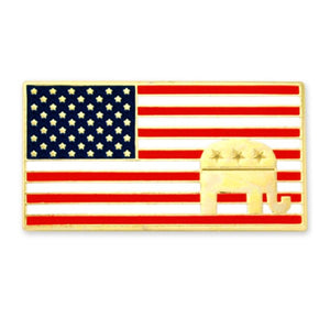 American Flag Republican Gold Plated Lapel Pin