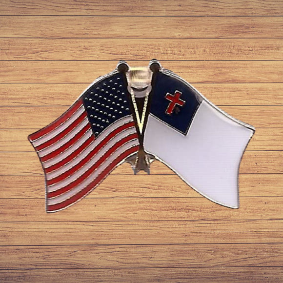 American and Christian Flag Enamel Lapel Pin