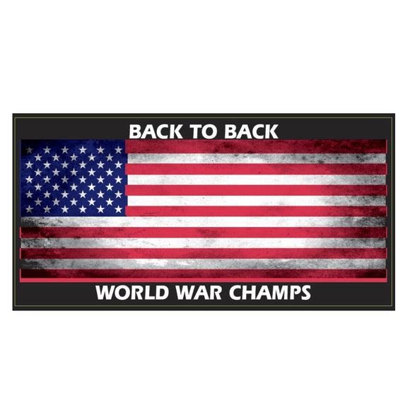Back to Back World War Champs Weatherproof Bumper Sticker