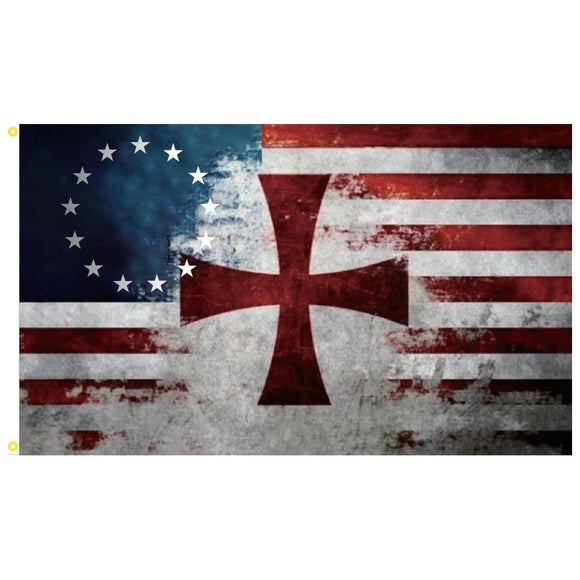 Betsy Ross Knights Templar (Crusader) 3'x5' 100D Rough Tex® Flag