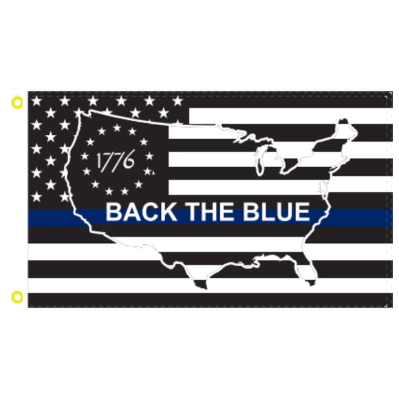 Betsy Ross 1776 US Back the Blue 3'x5'100D Rough Tex® Flag