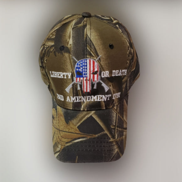 Liberty or Death 2nd Amendment 1791 Skull Embroidered Hat (Camo)