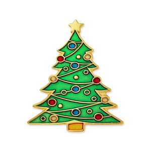 Christmas Tree Lapel Pin (Gold Plated)