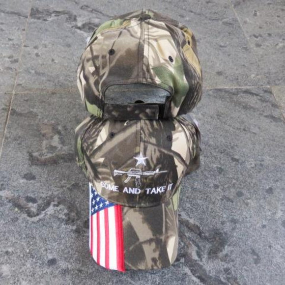 Premium Camo Come and Take It Custom Embroidered Hat with American Flag Bill