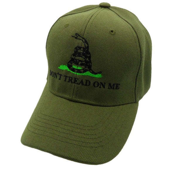 Don't Tread on Me Custom Embroidered Hat (Olive Green)